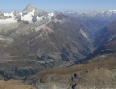 Zermatt valley seen from the Breithorn at 4164 m