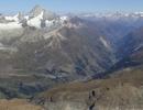 Zermatt valley seen from the Breithorn at 4164 m